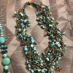 Multi stringed torquoise necklace